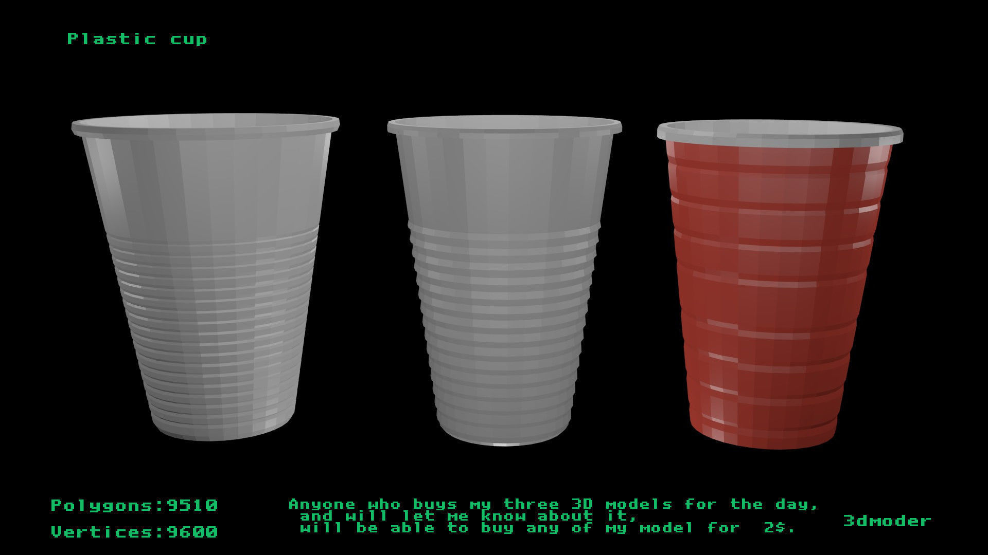 3D model low-poly Plastic cup   CGTrader