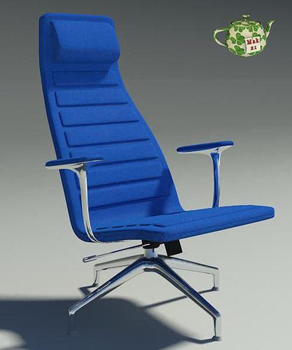 lotus blu fabric armchair  3d model max obj mtl 3ds fbx 1