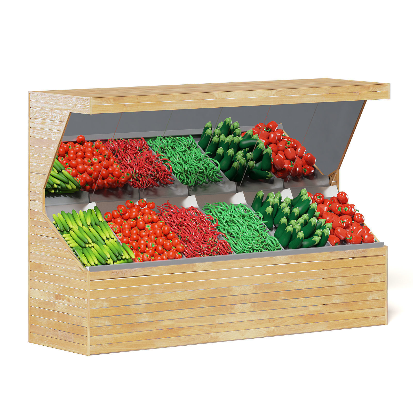 Market Shelf 3D Model - Vegetables