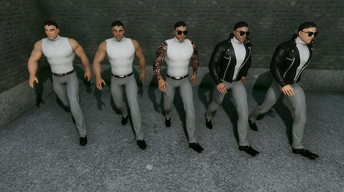 mafia men - yakuza boss 3d model fbx unitypackage prefab mat 1