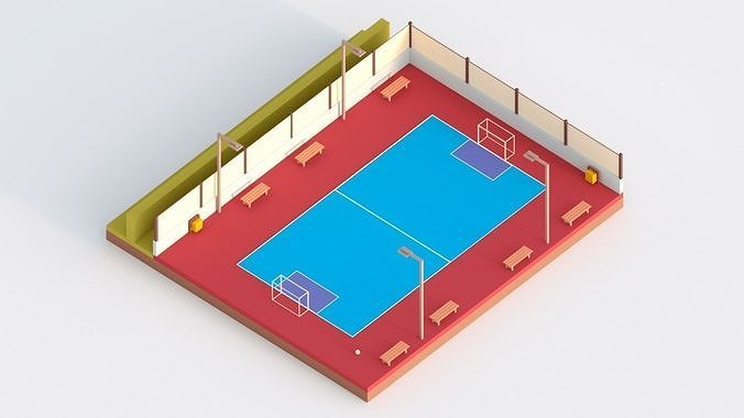 low poly futsal court 3d model obj mtl fbx stl blend 1