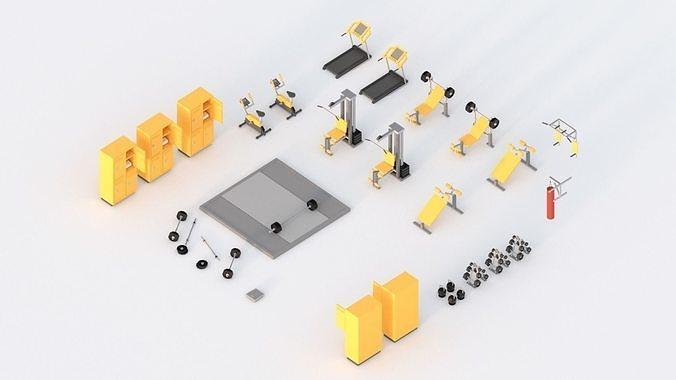 low poly gym 3d model obj mtl fbx stl blend 1