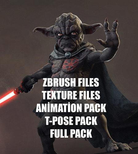 yoda starwars fan dark side 3d model obj mtl fbx ztl 1