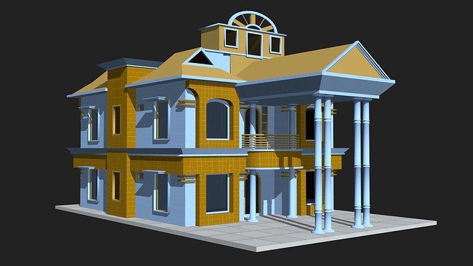 D House Building D Model Low Poly