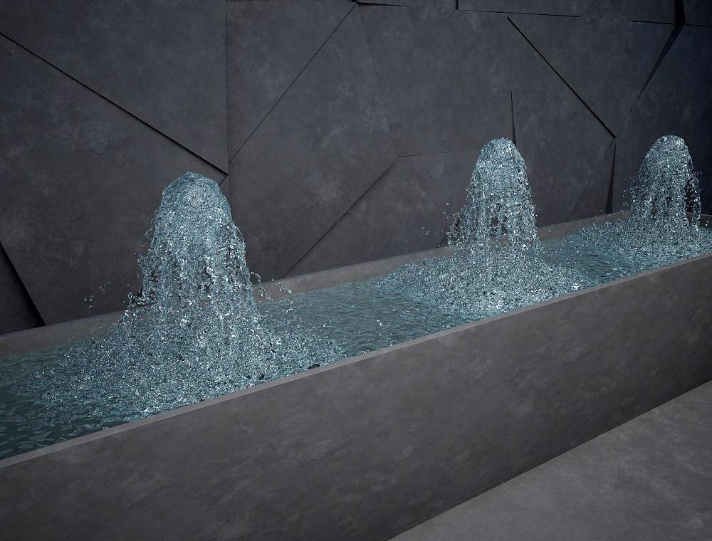 Fountain 4 emiters inside