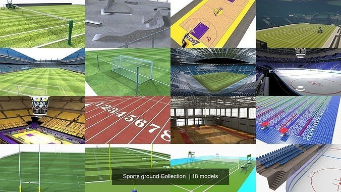 sports ground collection  3d model obj mtl fbx ma mb dae tga 1