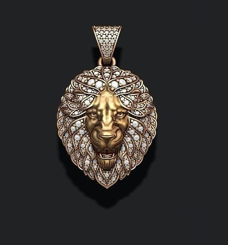 Leon pendant with diamonds and opened mouth