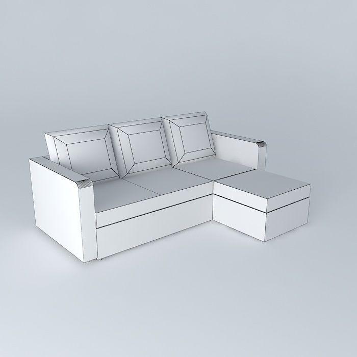 Brown sofa bed toronto 3d model max obj 3ds fbx stl for Sofa bed 3d model