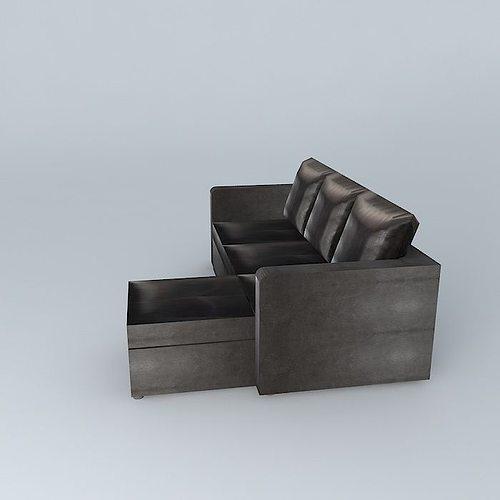 Brown sofa bed toronto 3d model max obj 3ds fbx stl dae for Sofa bed 3d model