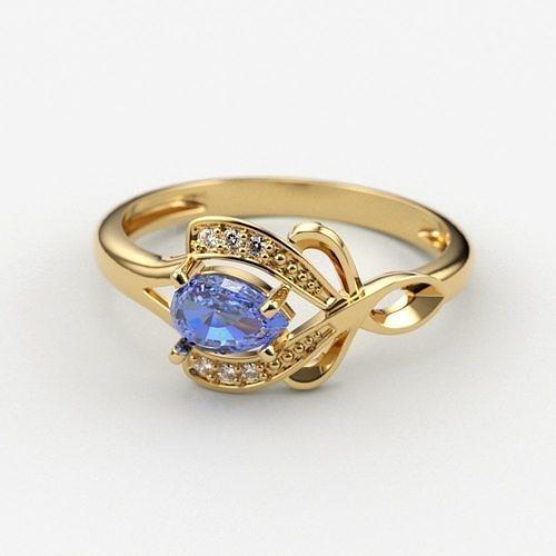 Design Women ring with gems and diamonds 3dm stl 3D print model
