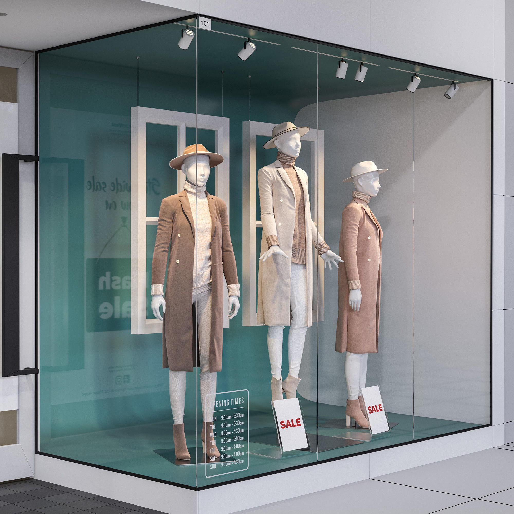 Shop front with female mannequin