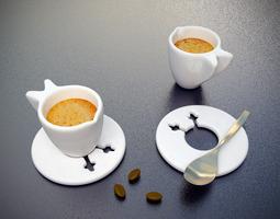 Wings Espresso Cups 2 Piece Set 3D Model