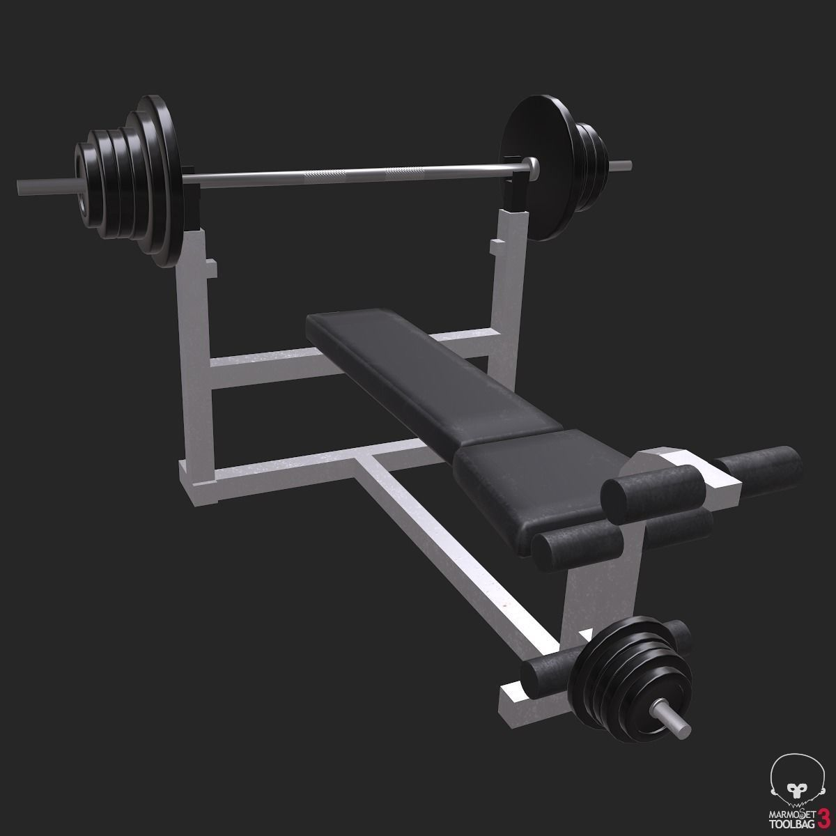 Weight Bench Low Poly Game Ready | 3D model