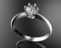 gold 3D print model engagement ring