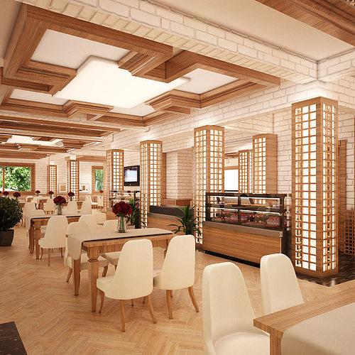 cafe interior 001 v2 3d model - Large Cafe Interior
