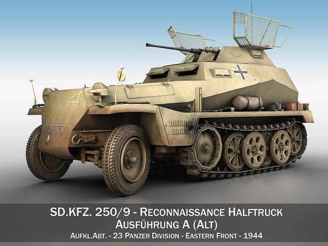 sd kfz 250 9 - reconnaissance halftruck - 23 pzdiv 3d model obj mtl 3ds fbx c4d lwo lw lws 1