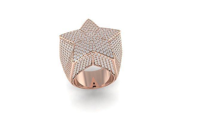 Star ring full diamond luxury