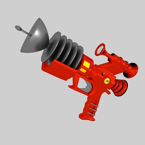 Retrofuturistic Raygun 3D Model OBJ 3DS FBX C4D BLEND DAE