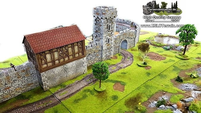 modular medieval fortress or castle set - openlock - 3d print 3d model stl 1