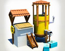 cartoon house 3D asset
