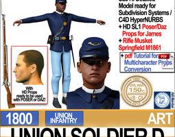 civil war union soldier d african american infantry wt poserdaz 3d model obj 3ds c4d vue pz3 pp2