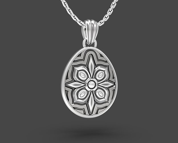 Easter egg Pisanka pendant with Floral ornament