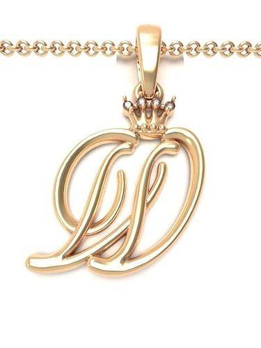 Alphabet Initial pendant letter W Crown
