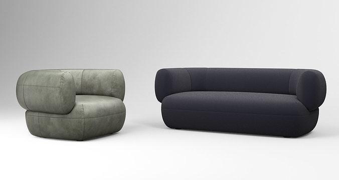 linteloo arp sofa and armchair collection 3d model max obj mtl tga 1