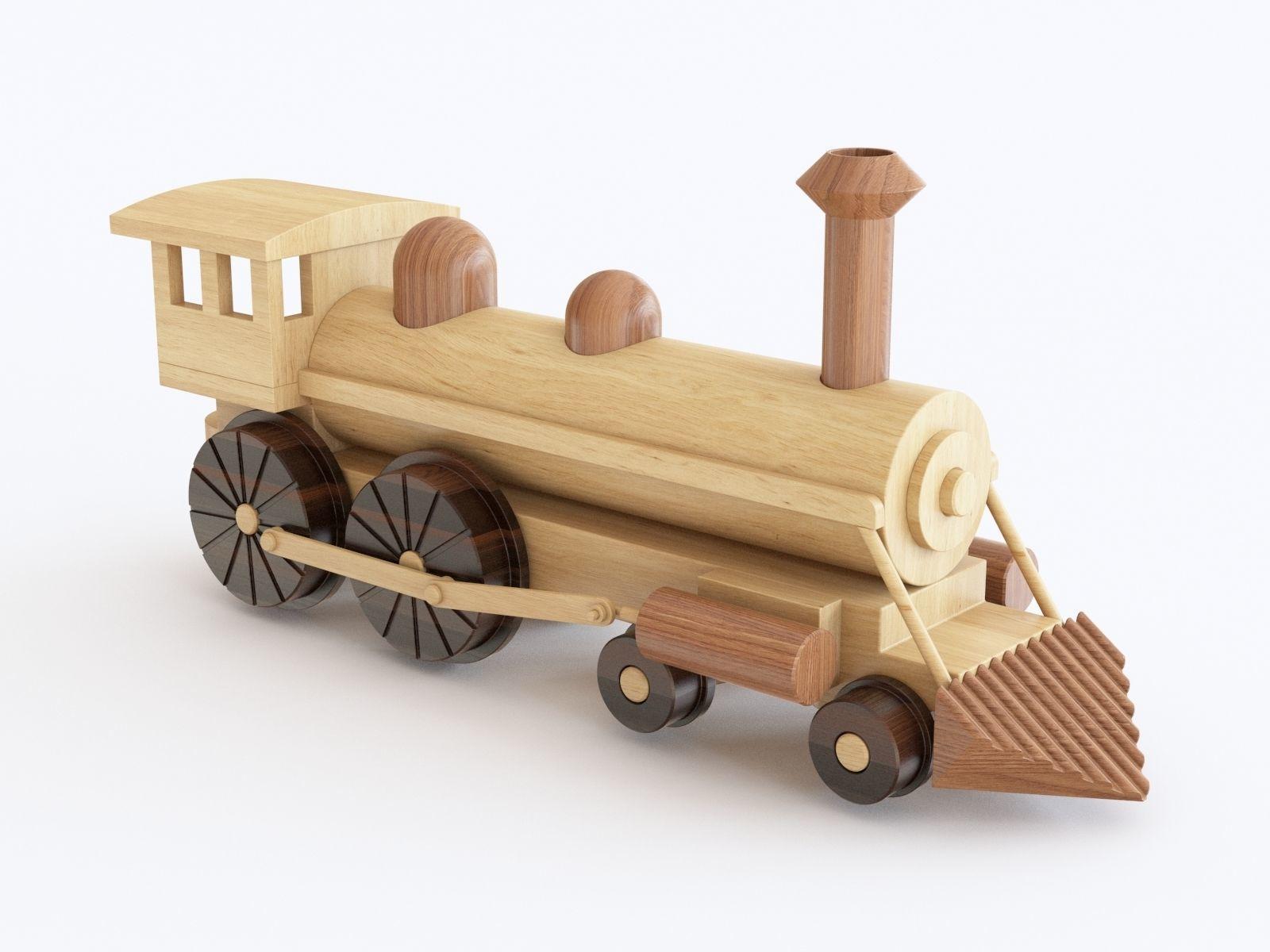 wooden toy train 06   3d model