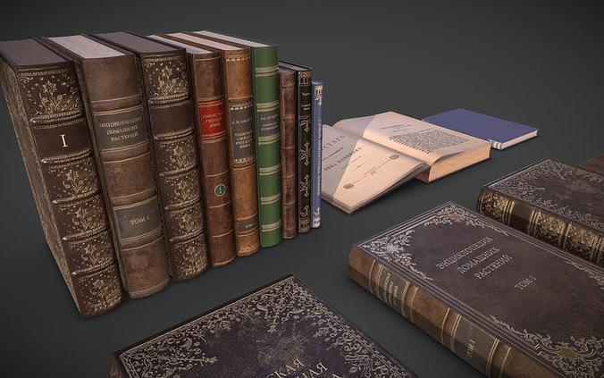 old books collection 3d model obj mtl 3ds fbx 1