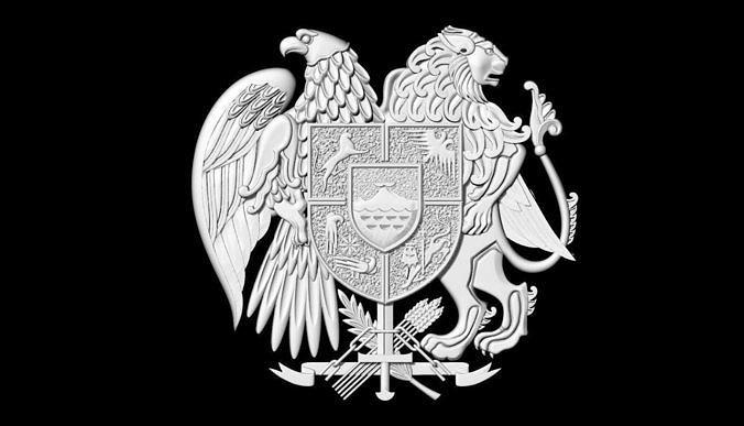 coat of arms of armenia 3d print model 3d model  1