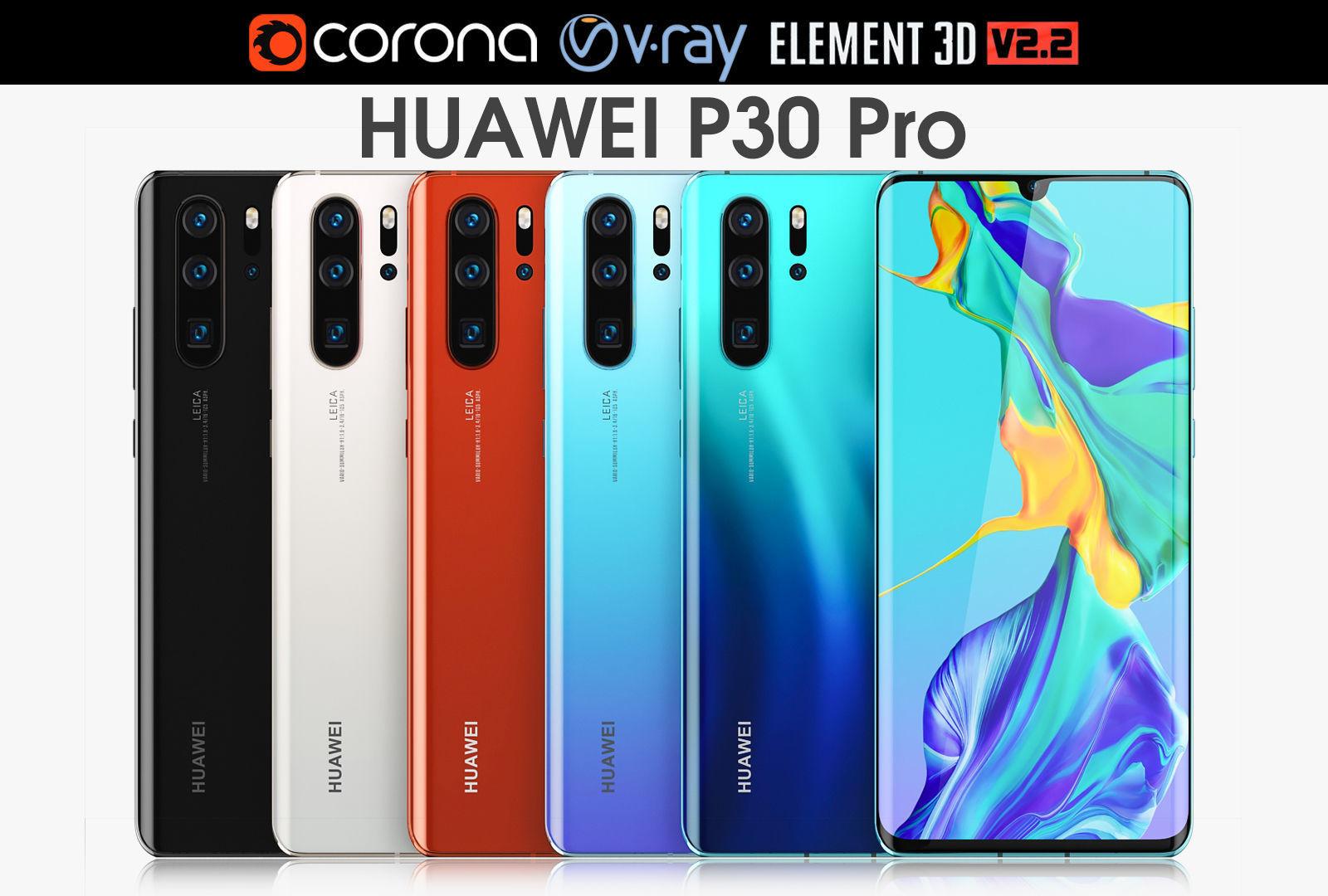 Huawei P30 Pro ALL Colors 3D model MAX OBJ MTL 3DS C4D