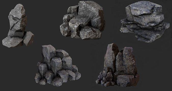 rock pack 3d model obj mtl fbx 1