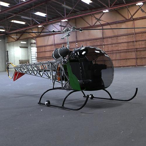 bell 47g helicopter 3d model obj mtl pdf 1