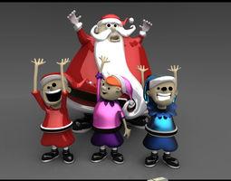 Santa Claus with Elves 3D Model