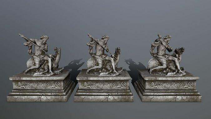 neptune statue 3d model obj mtl fbx blend 1