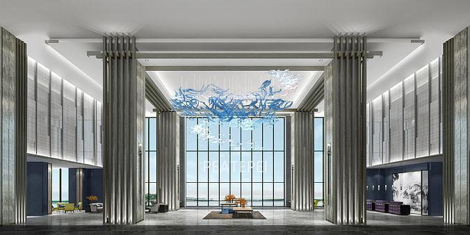 hotel lobby 3d model max obj mtl 3ds fbx 1