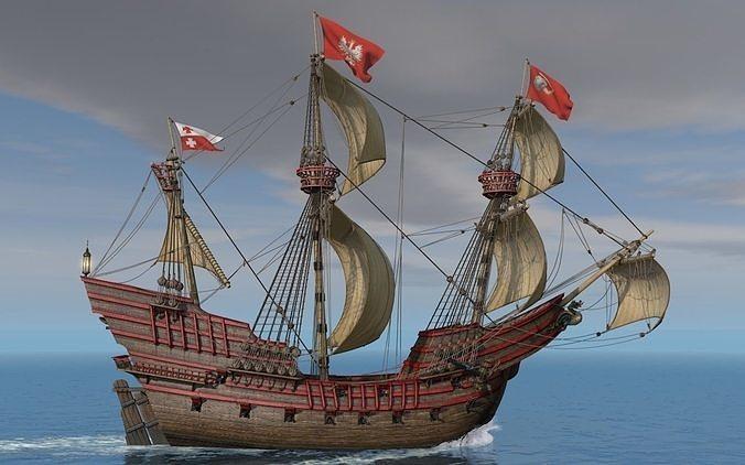 galeon dragon with sails 3d model obj mtl 3ds c4d dxf 1