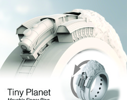 3d printable model tiny planet movable finger ring contest entry