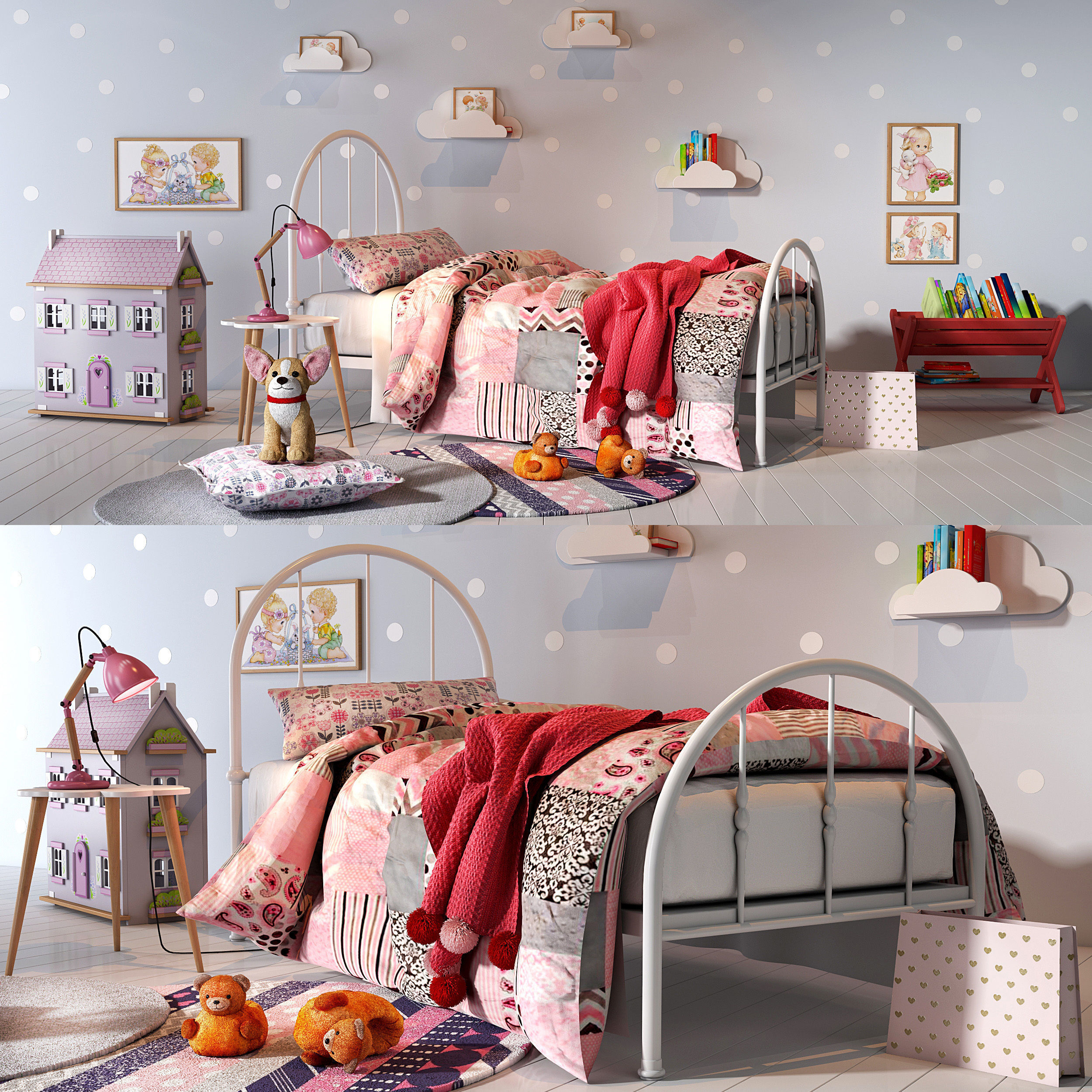 Girl bedroom set 01 | 3D model