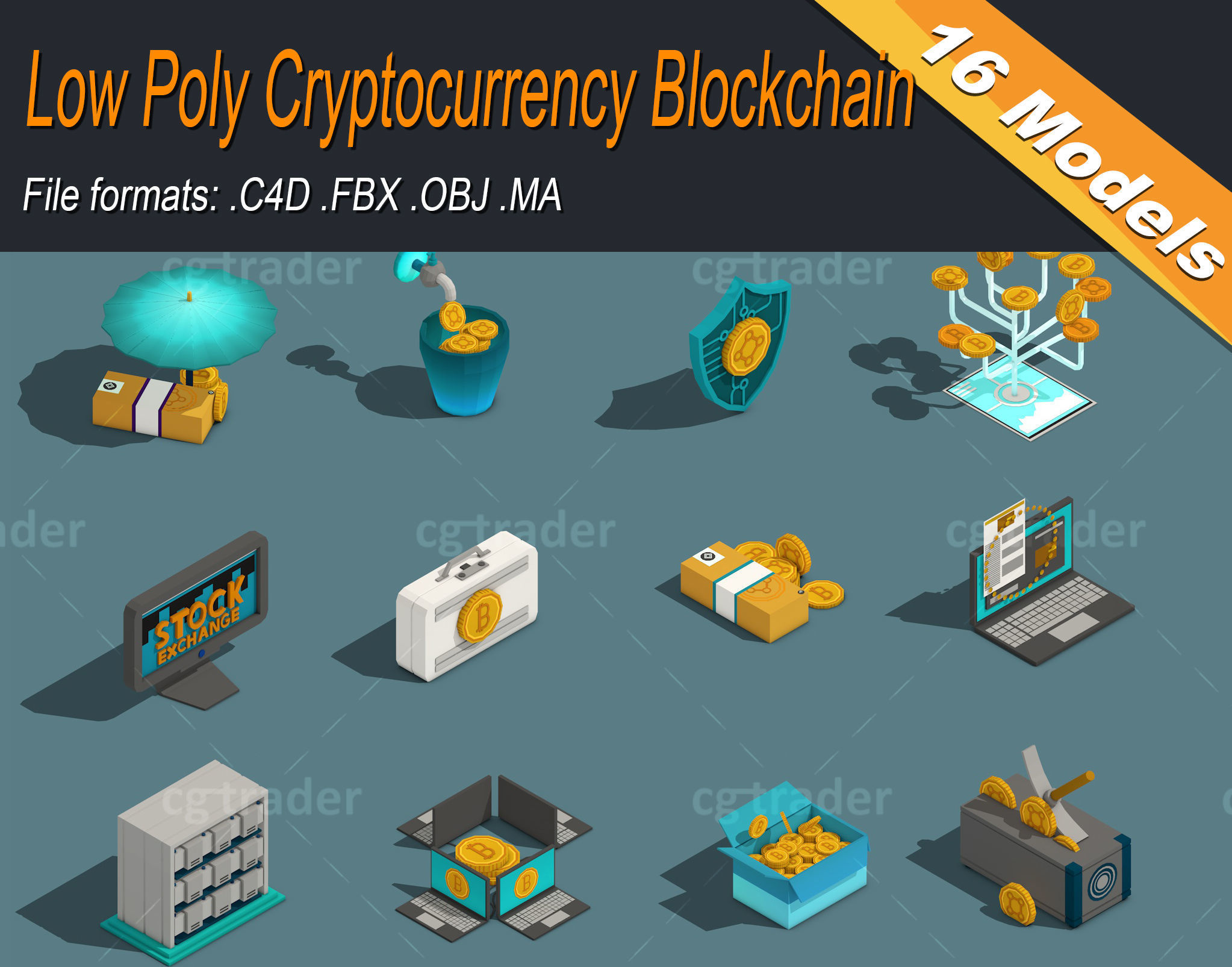 Low Poly Cryptocurrency Blockchain Isometric Pack 01