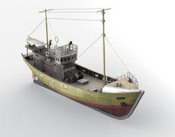 3d asset game-ready kuter b-25 polish fishing boat b-25 class
