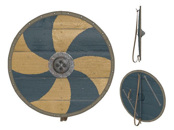 viking round shield 3 3d model max obj mtl fbx mdl 1