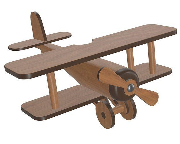 children airplane made of wood 3d model max obj mtl fbx mdl 1