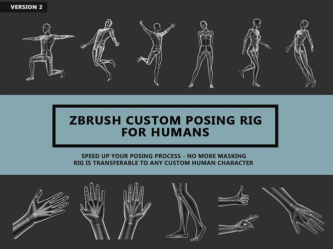 zbrush custom posing rig tool for humans v2 3d model ztl 1