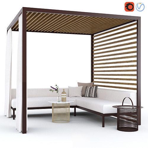 garden arbor with sofa kettal pavilion gazebo 3d model max fbx 1