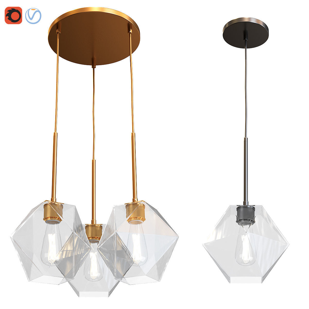 West Elm Sculptural Glass Faceted 3 Light Chandelier Pendant 3d Model
