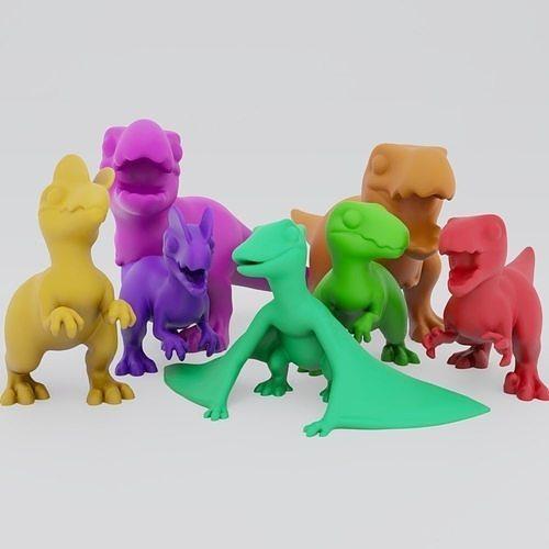 cute carnivores 3d model obj mtl stl ply 1