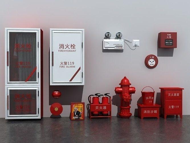 fire equipment set 3d model max fbx 1