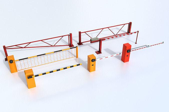 boom barrier gates urban equipment set 3d model max obj mtl fbx blend unitypackage prefab mat 1